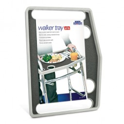 Walker Tray W- Grip Mat  Gray